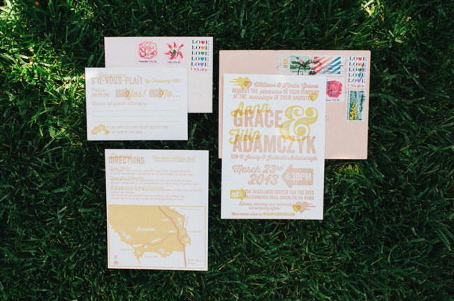 pink and yellow invitation