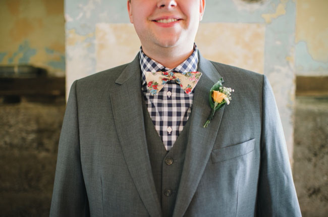 plaid shirt with bow tie