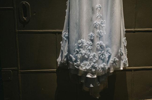 blue wedding dress flower detail