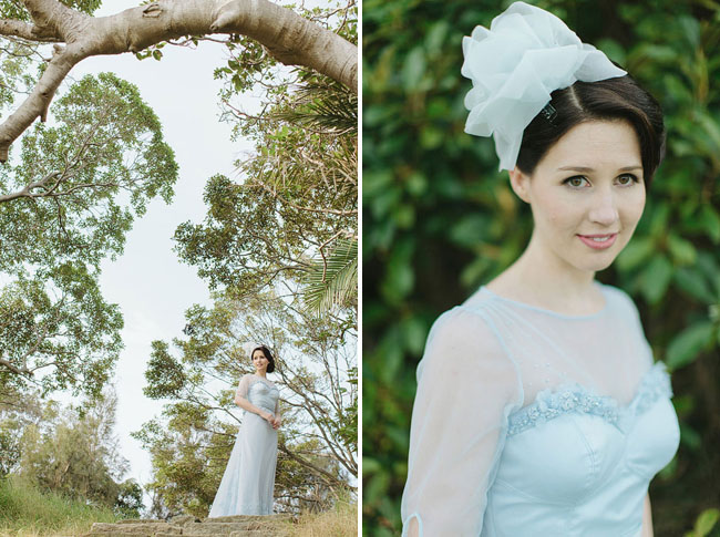 blue dress bride