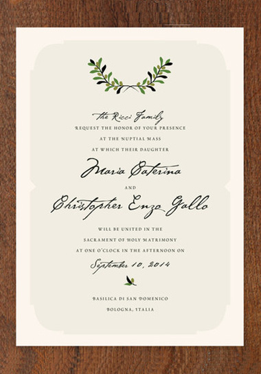 Italiano Wedding Invitations Green Wedding Shoes