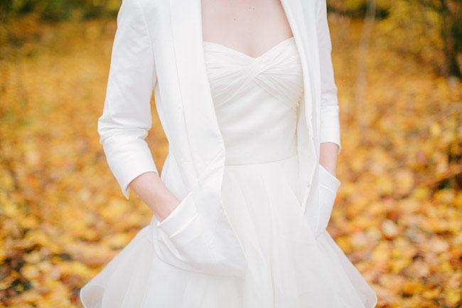 white bridal jacket
