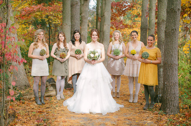 bridesmaids wearing tights