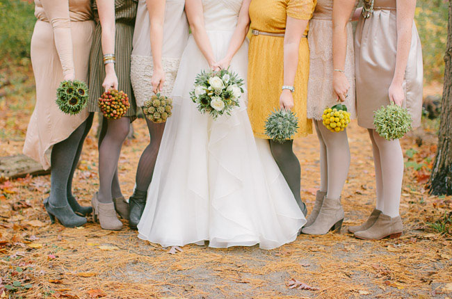bridesmaids wearing tights