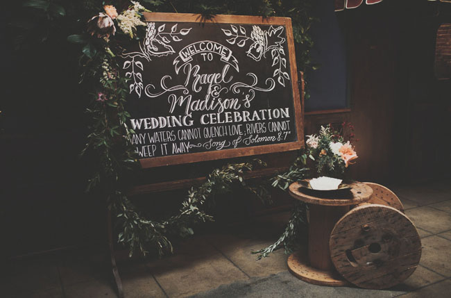 chalkboard and spool decor