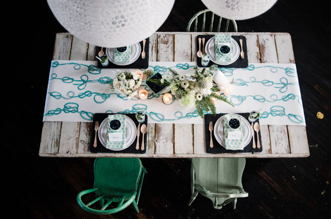 knotted paper table runner