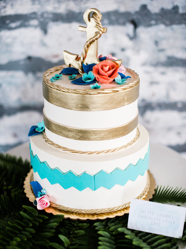 gold and blue nautical cake