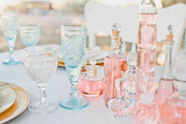 vintage bottle centerpieces