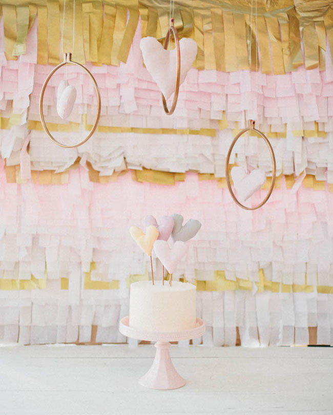 pink and gold fringe backdrop