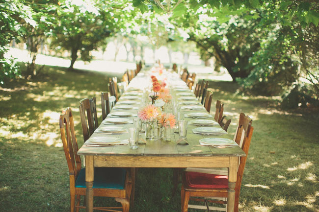 farm table in the trees