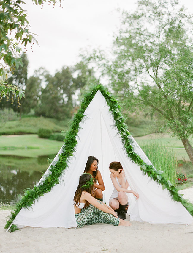 white tent with garland
