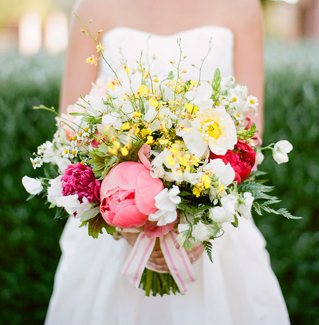 yellow and pink peony bouquet