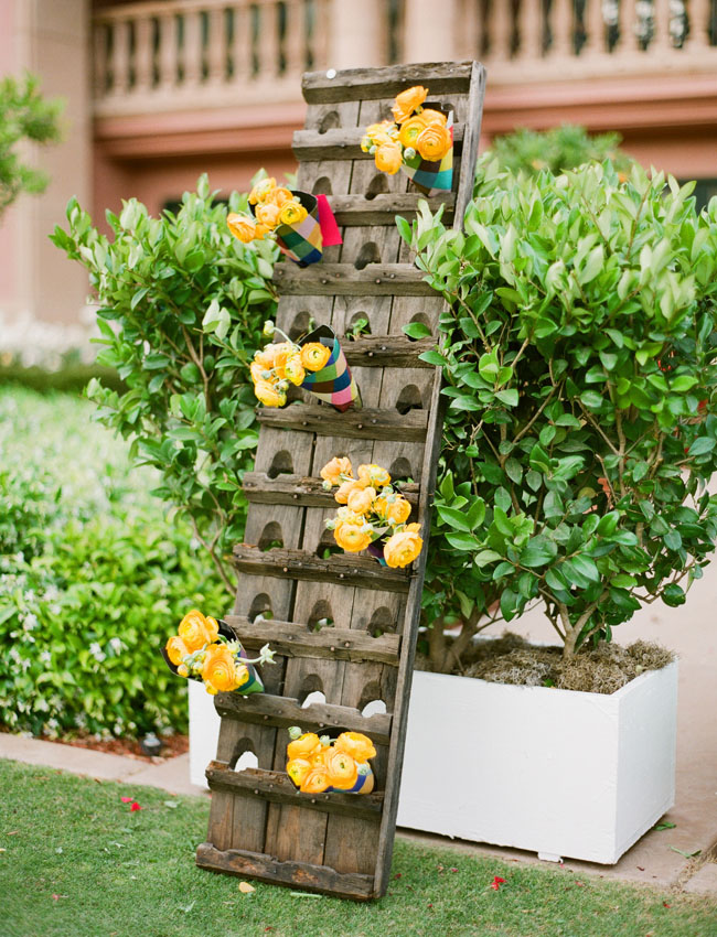 wine bottle rack with flowers