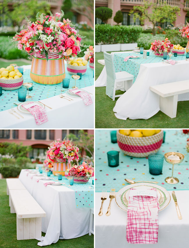 teal and pink tablescape