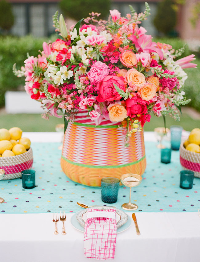 big pink floral centerpiece