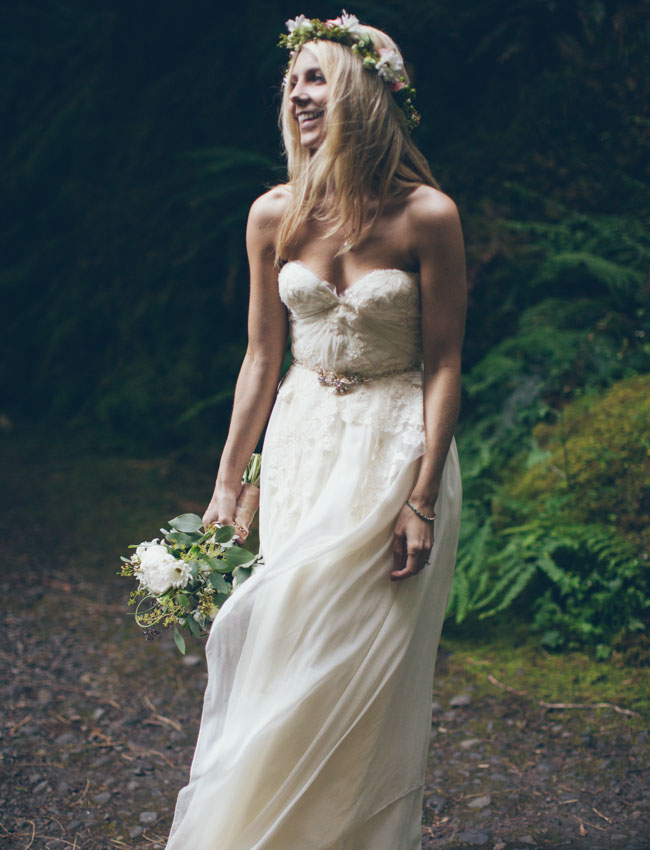 bohemian waterfall bride