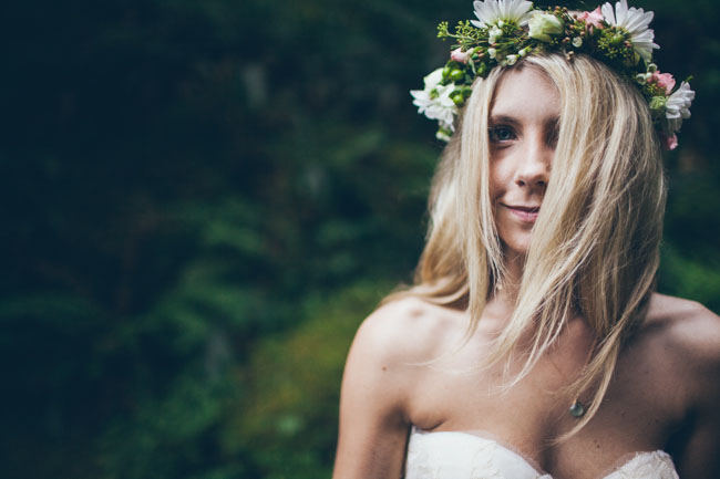 bohemian flower crown bride