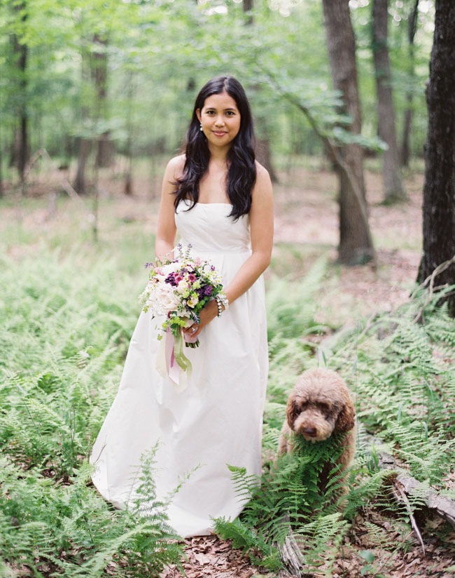 woodland bride with pup