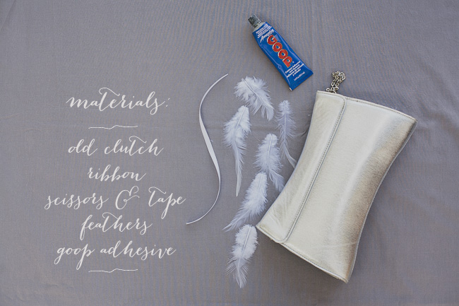 DIY Feathered Clutch - Materials Side (Labeled)