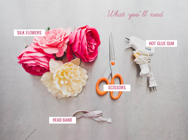 DIY_Silk_flower_crown_materials