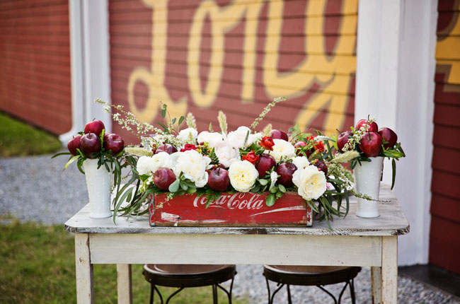 Apple themed wedding inspiration apple inspired centerpiece junglespirit Gallery