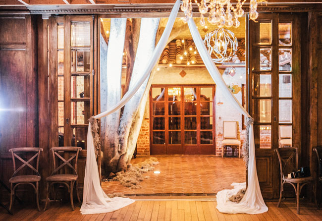 draped fabric entrance