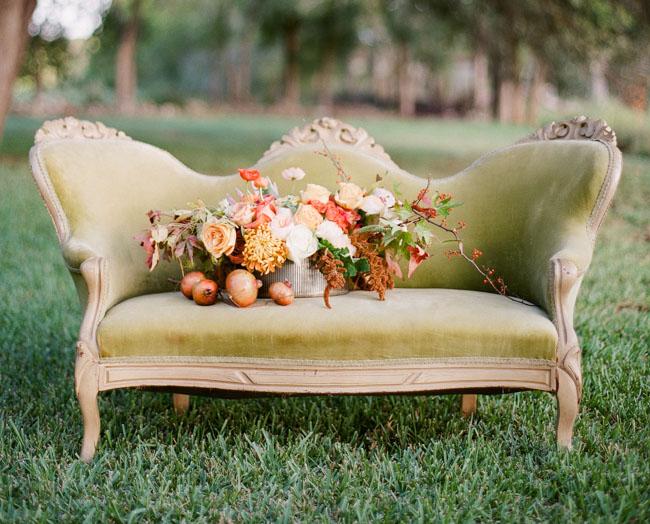 vintage green settee