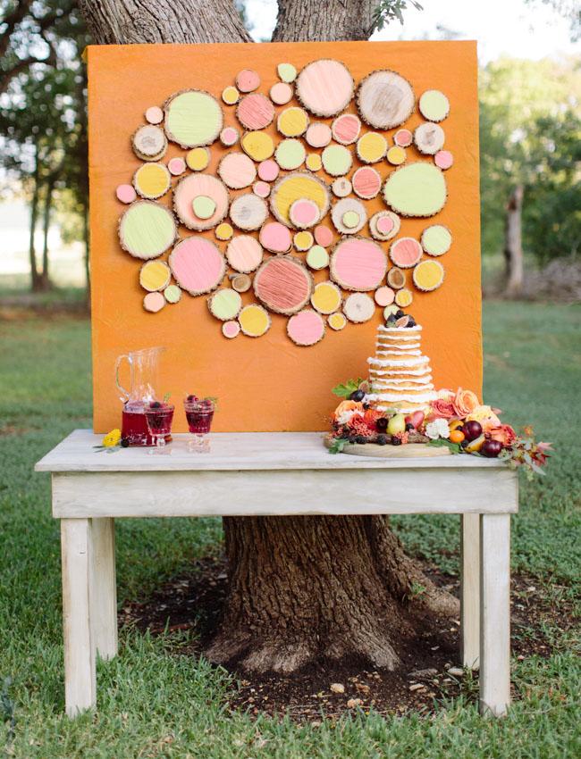 painted wood slice backdrop