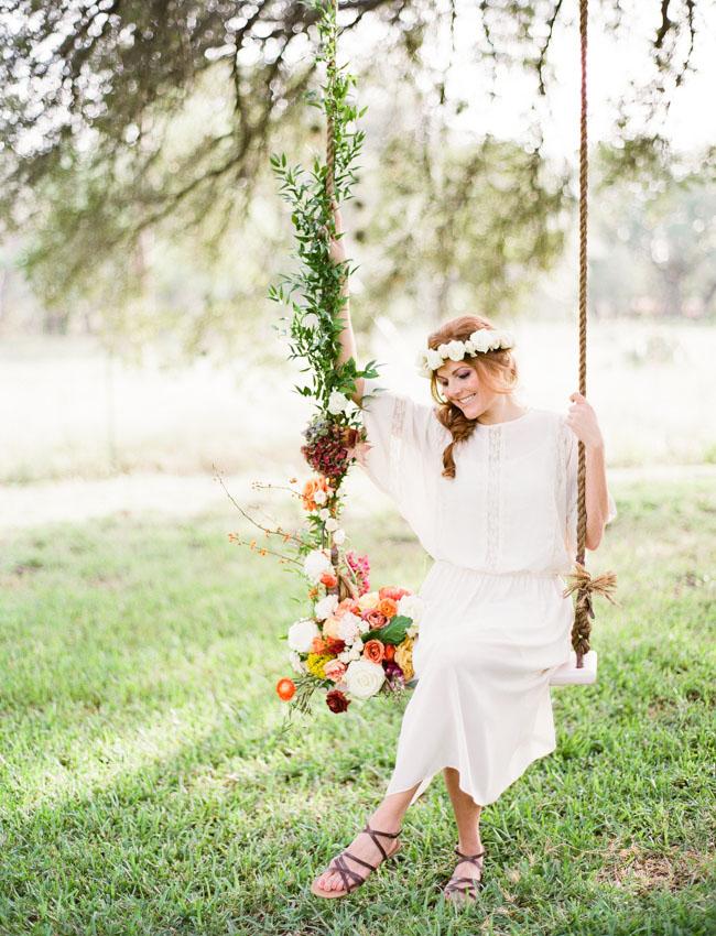 flower covered swing