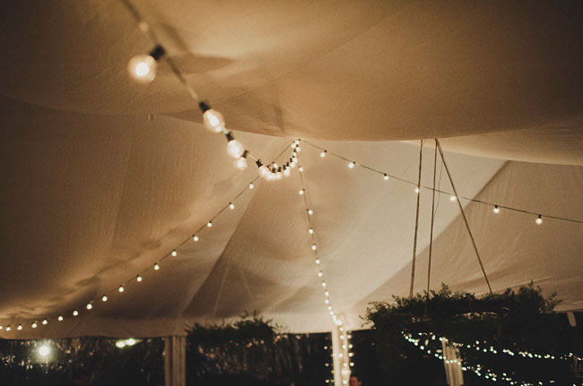 string lights and tent