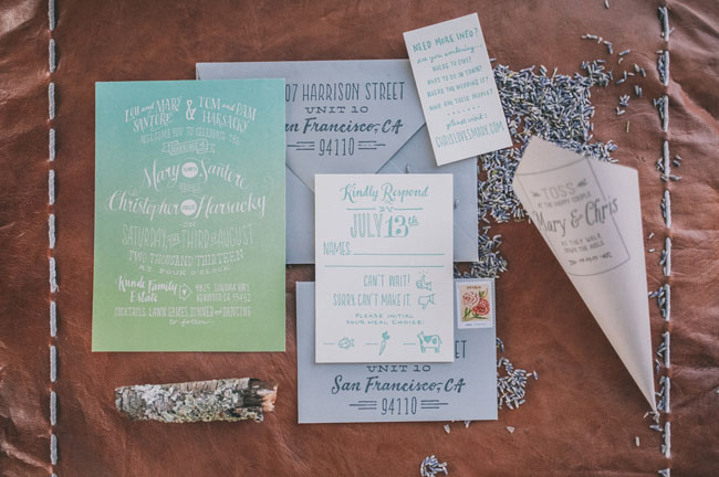 ombre wedding invitation