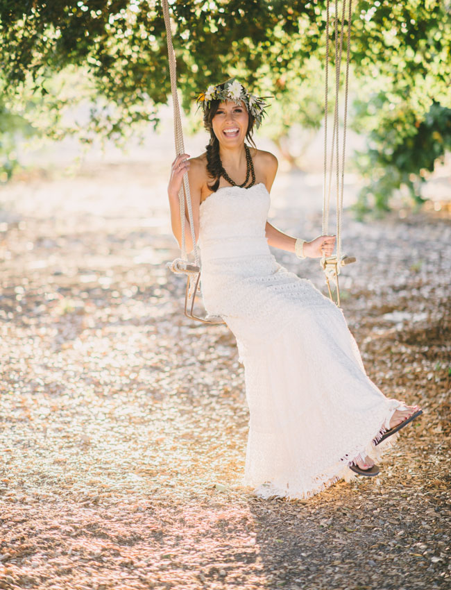 bohemian bride on a swing