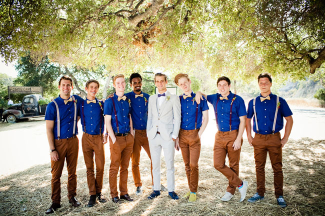 blue and brown groomsmen