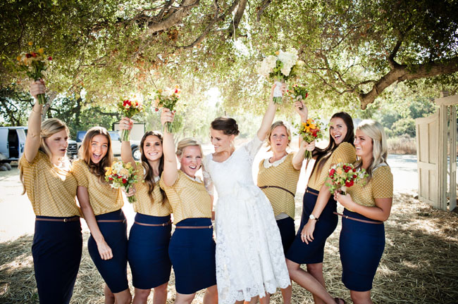 bridesmaids wearing skirts