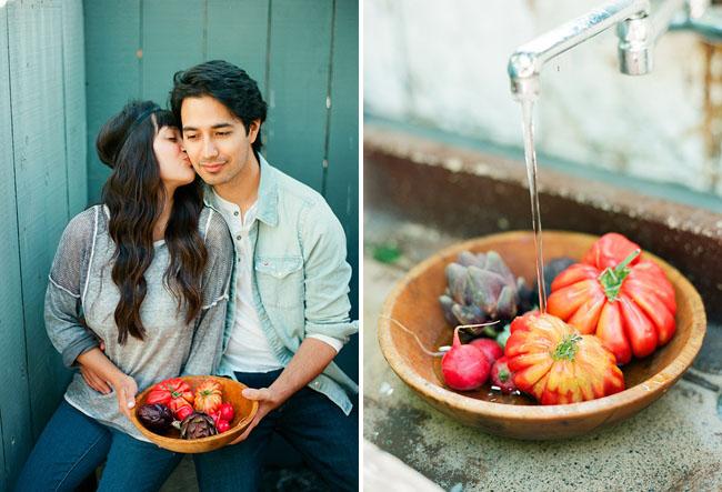 couple picking veggies