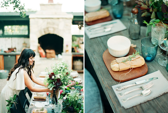 fresh bread table setting