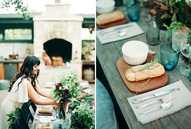 fresh bread table setting
