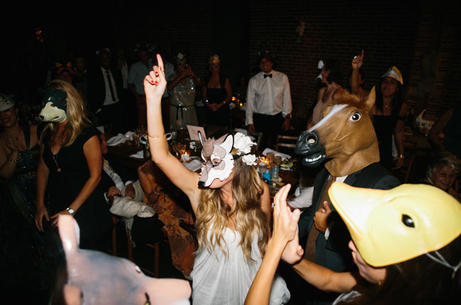 animal mask wedding
