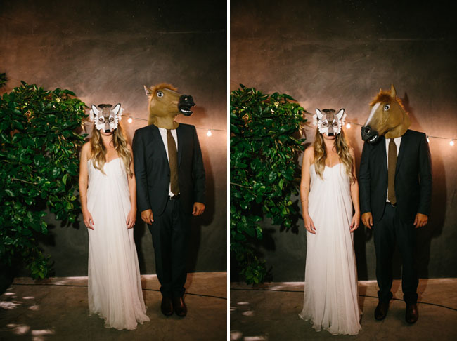 animal mask wedding