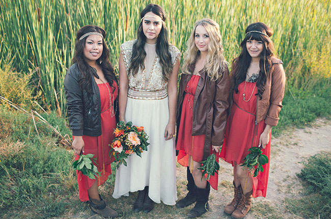 bridesmaids in leather jackets