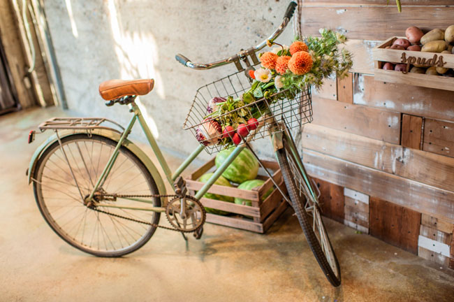 old bike with veggies