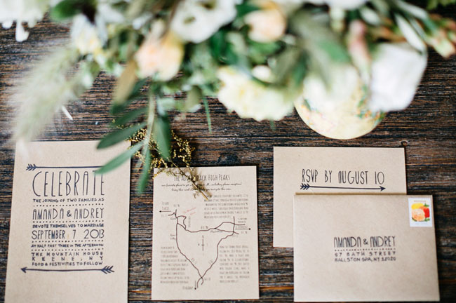 indie wedding invitation