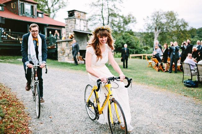bride and groom bike exit
