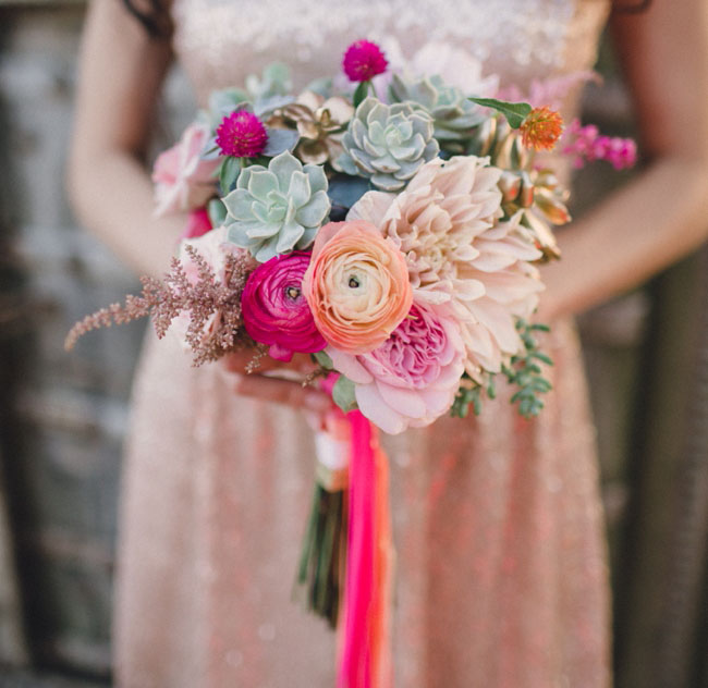 pink ribbon wrapped bouquet