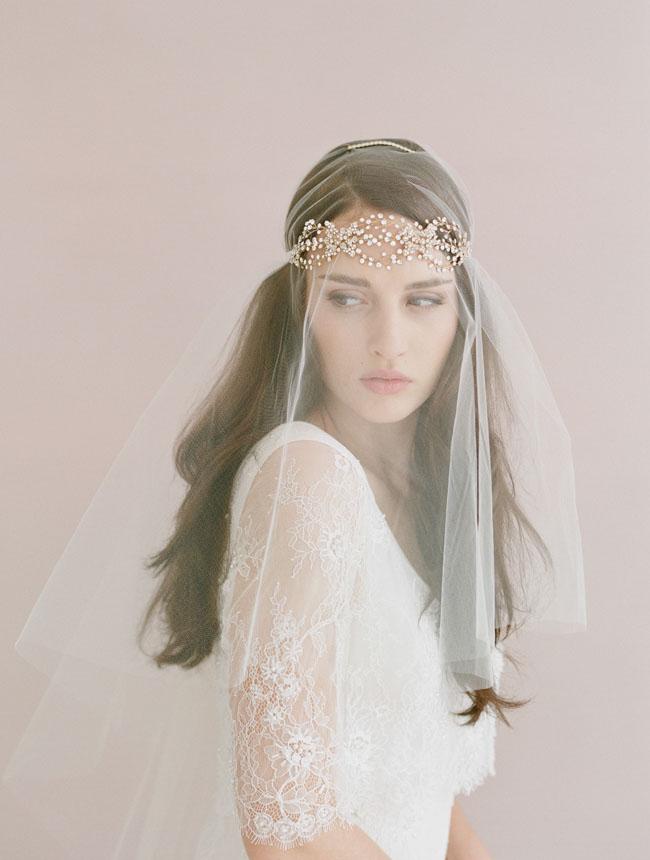 crystal headband with veil