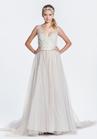 Paolo Sebastian 'Alexis' Lilac Lace V-Neck Wedding Dress – Green ...