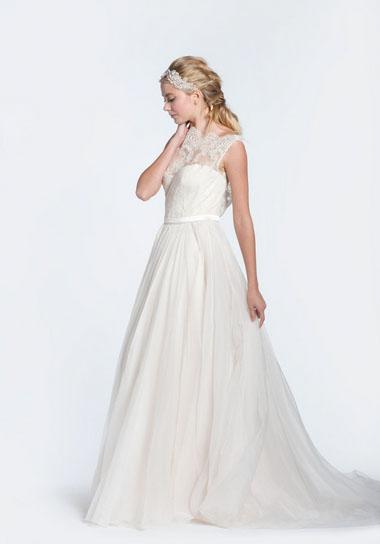 Paolo Sebastian \'Olivia\' Light Blush High Neck Lace Wedding Dress ...