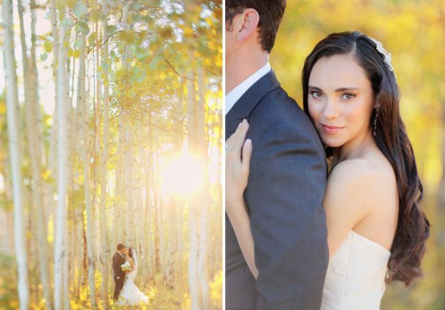 aspen fall bride and groom