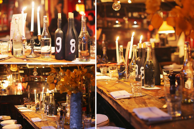 black wine bottle centerpieces