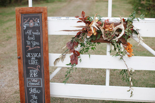 chalkboard and antler decor